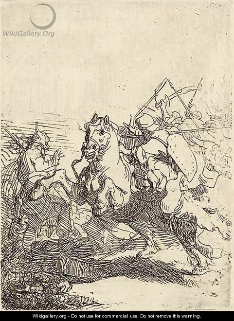 A Cavalry Fight - Rembrandt Van Rijn