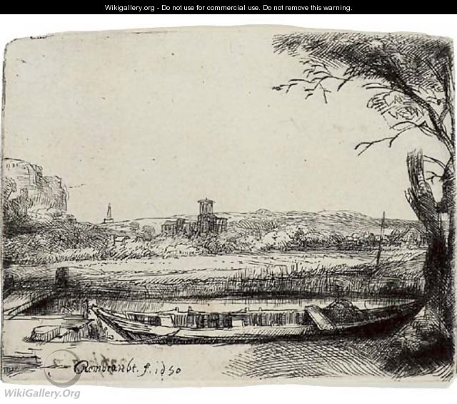 A Canal with a large Boat and Bridge - Rembrandt Van Rijn
