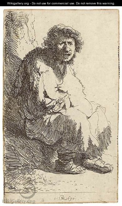 A Beggar seated on a Bank - Rembrandt Van Rijn