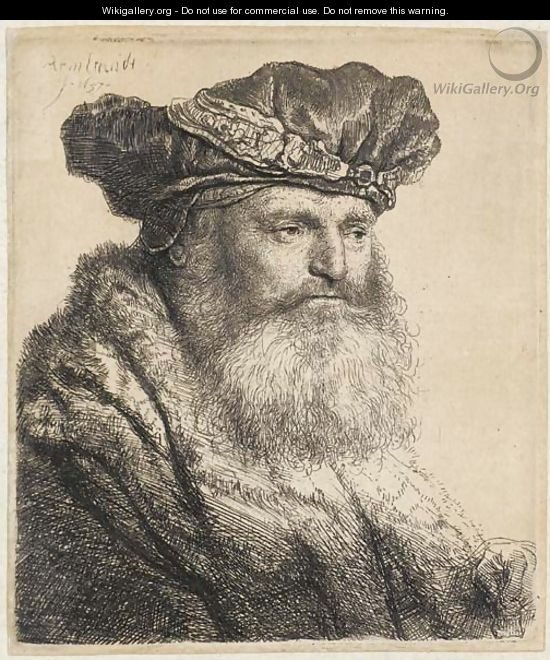 A bearded Man in a Velvet Cap with a Jewel Clasp - Rembrandt Van Rijn