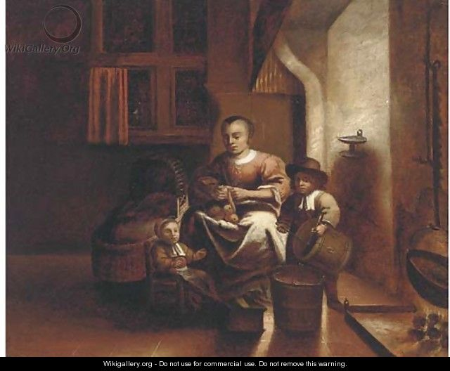 A kitchen interior with a woman and children - Reinier or Reynier Coveyn or Covyn