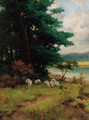 Sheep grazing in a wooded river landscape - Camille Pissarro