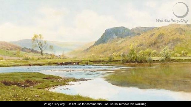 Cattle watering in a Highland landscape - Reginald Aspinwall