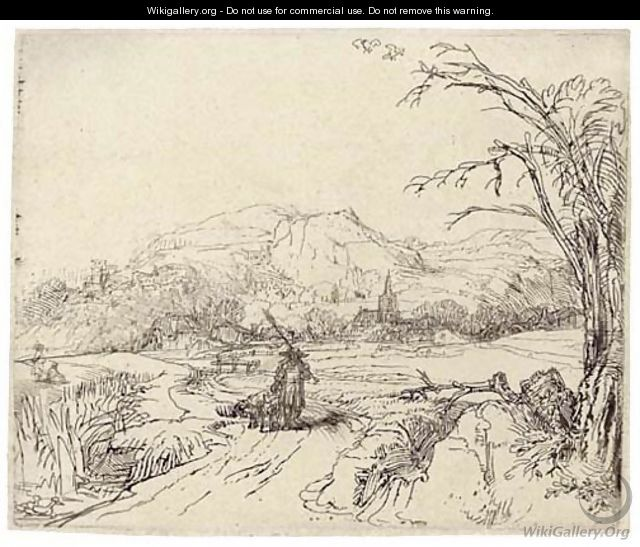 Landscape with a Sportsman and Dog - Rembrandt Van Rijn