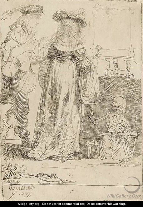 Death appearing to a wedded Couple from an open Grave 2 - Rembrandt Van Rijn