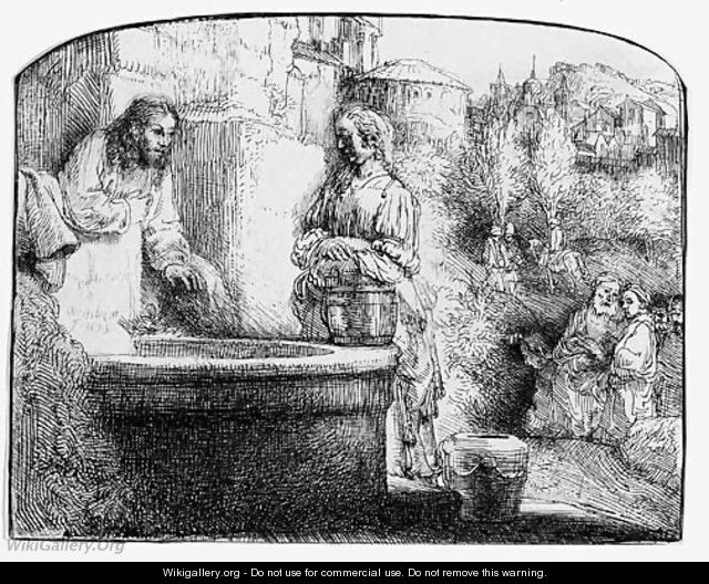 Christ and the Woman of Samaria An arched Print - Rembrandt Van Rijn