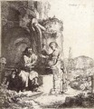 Christ and the Woman of Samaria among Ruins - Rembrandt Van Rijn