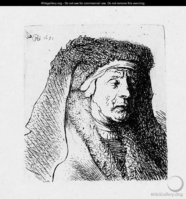 Bust of an old Woman in a furred Cloak and heavy Headdress - Rembrandt Van Rijn