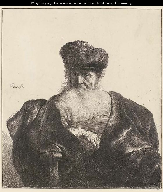 An old Man with Beard, Fur Cap, and Velvet Coat - Rembrandt Van Rijn