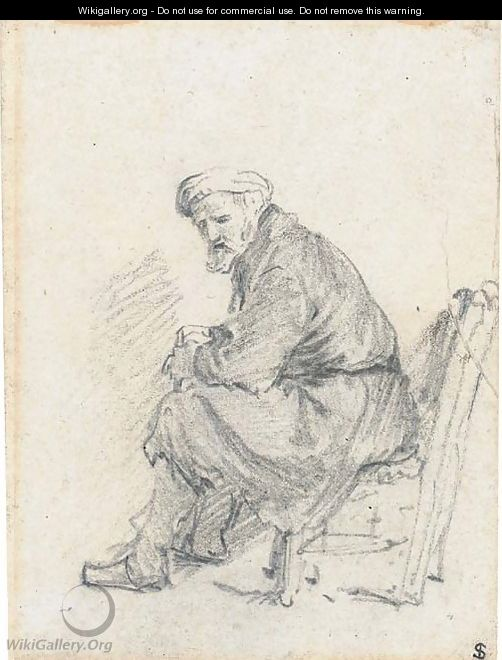 An old man wearing a turban seated in profile to the left - Rembrandt Van Rijn