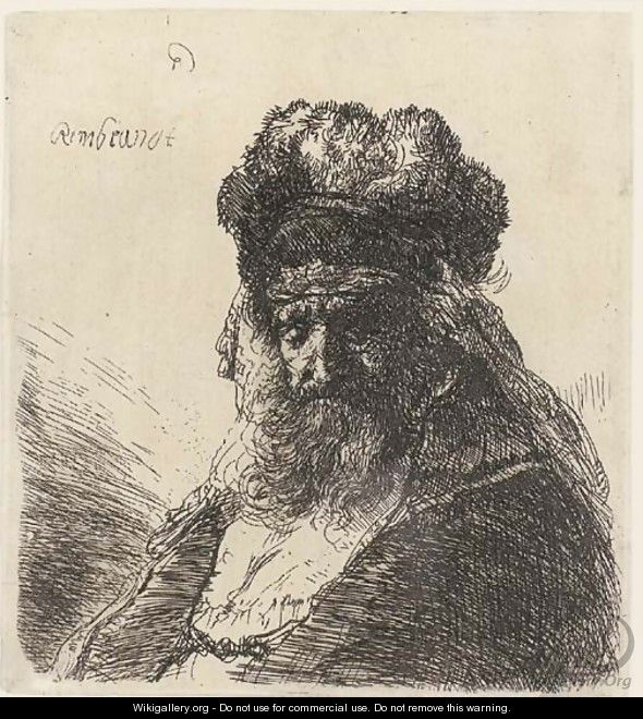 An old bearded Man in a high Fur Cap, with Eyes closed - Rembrandt Van Rijn