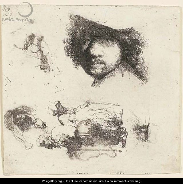 Sheet of Studies Head of the Artist, a Beggar Couple, Heads of an old Man and an old Woman, etc. - Rembrandt Van Rijn