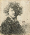 Self Portrait with curly Hair and white Collar Bust - Rembrandt Van Rijn