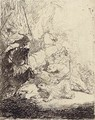 The Small Lion Hunt (with two Lions) - Rembrandt Van Rijn