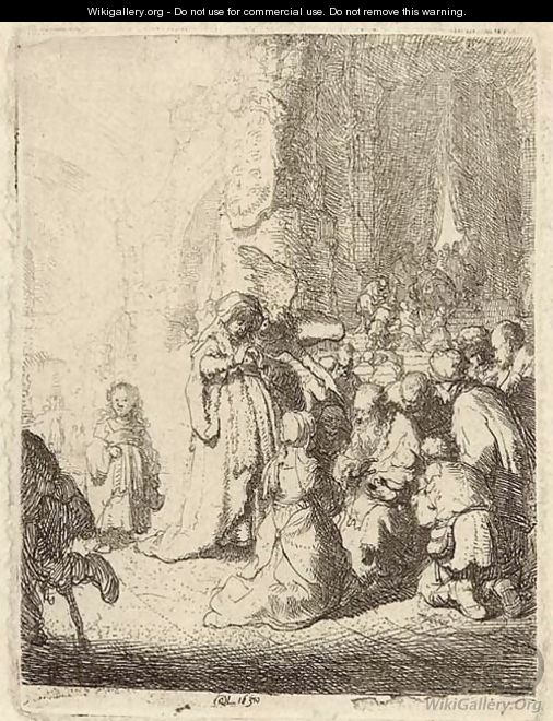 The Presentation in the Temple with the Angel Small Plate - Rembrandt Van Rijn