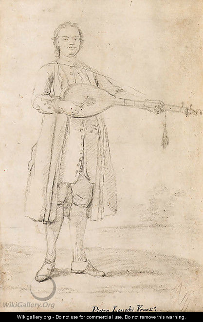 A man playing the colascione by a river - Pietro Longhi