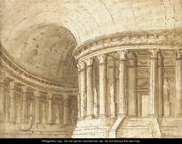The interior of a circular classical temple Design for a stage set, possibly for La Fenice, Venice - Pietro Gonzaga