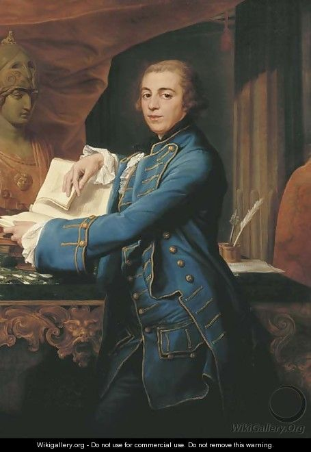 Portrait of John Crewe, later 1st Baron Crewe (1742-1829), three-quarter-length, in a gold-embroidered blue coat and waistcoat - Pompeo Gerolamo Batoni