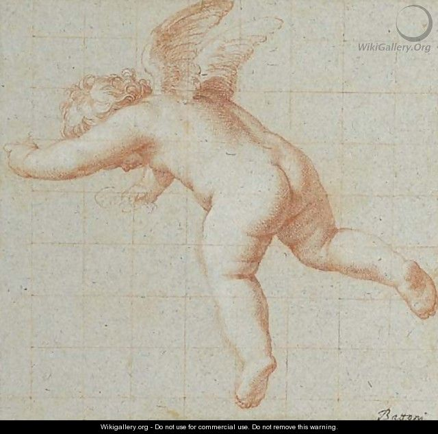 A flying putto, looking down - Pompeo Gerolamo Batoni