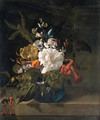 A white gentian, a cactus, a tulip and exotic flowers in a glass vase on a ledge - Rachel Ruysch