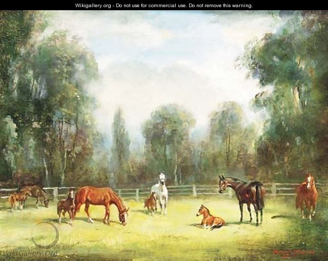Mares and Foals grazing in a Paddock - H. Raoul Millais