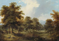 A wooded Glade with Pheasants and Rabbits, a sportsman and his dog beyond - Ramsay Richard Reinagle