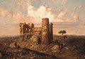 Figures among ruins with an extensive mountainous landscape beyond - Ramon (Marti) Alsina