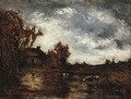 View of a Cottage with Cows Watering - Ralph Albert Blakelock