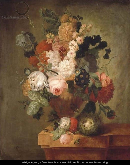 Roses, carnations, a tulip and other flowers in a sculpted urn with a bird