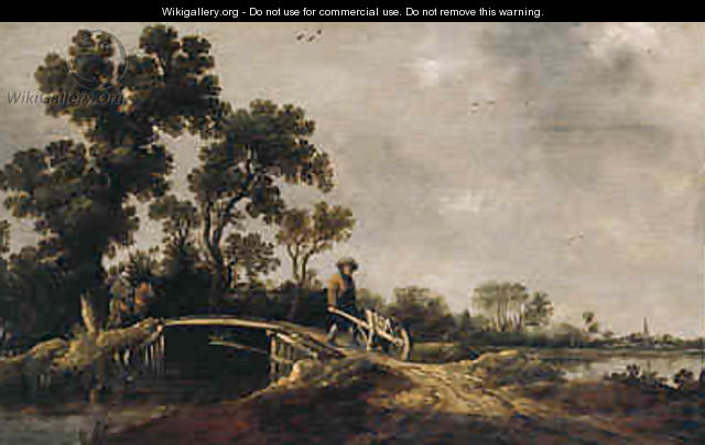 A horseman and a peasant with a wheel-barrow on a bridge in a river landscape - Pieter de Neyn