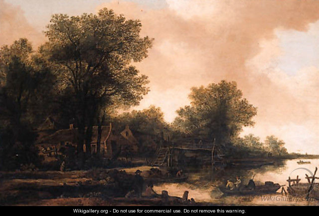 A hamlet in a wood by a river with fishermen in a rowing boat by a footbridge - Pieter Molijn