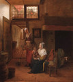 A mother and child with a serving woman in an interior, a hallway beyond - Pieter De Hooch