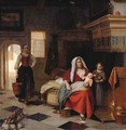A mother and baby in an interior with a young girl and a maid - Pieter De Hooch