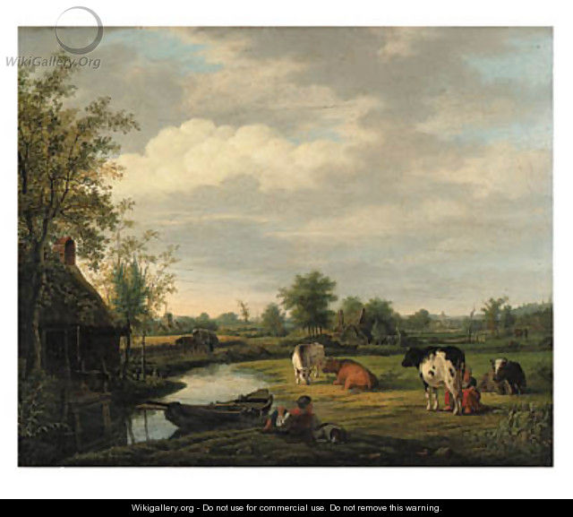 Peasants and cattle by a cottage in a river landscape - Pieter De Goeje