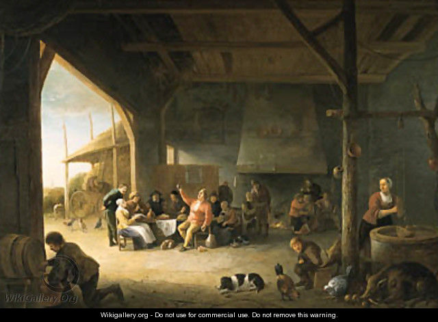 The interior of a barn with boors carousing 2 - Pieter de Bloot