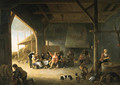 The interior of a barn with boors carousing - Pieter de Bloot