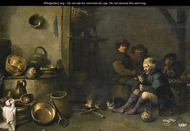 Boors smoking by a fire in a barn, with pots, pans and other kitchen utensils in the foreground - Pieter de Bloot