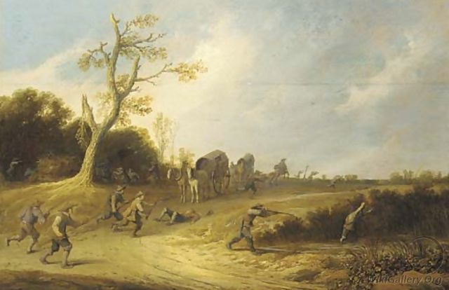 A dune landscape with bandits ambushing travellers in wagons - Pieter de Bloot