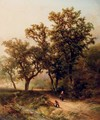 Travellers on a wooded path - Pieter Lodewijk Francisco Kluyver