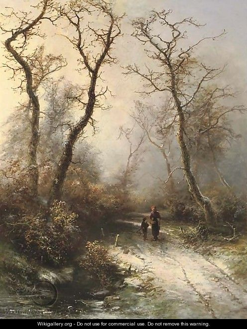 In the forest in winter - Pieter Lodewijk Francisco Kluyver