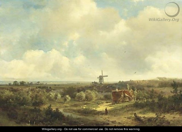 Figures in an extensive summer landscape, a windmill in the distance - Pieter Lodewijk Francisco Kluyver