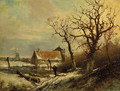 A winter landscape with a wood gatherer on a snowy track - Pieter Lodewijk Francisco Kluyver