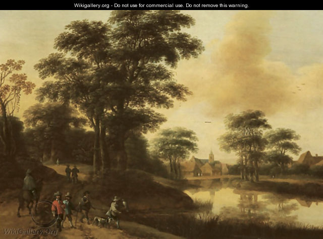 A hunting party near a lake, a village in the distance - Pieter Jansz. van Asch