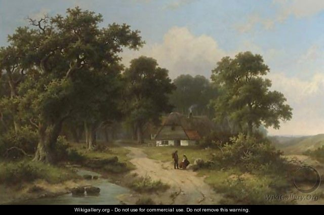 Peasants resting by a stream at the edge of a forest - Hendrik Pieter Koekkoek
