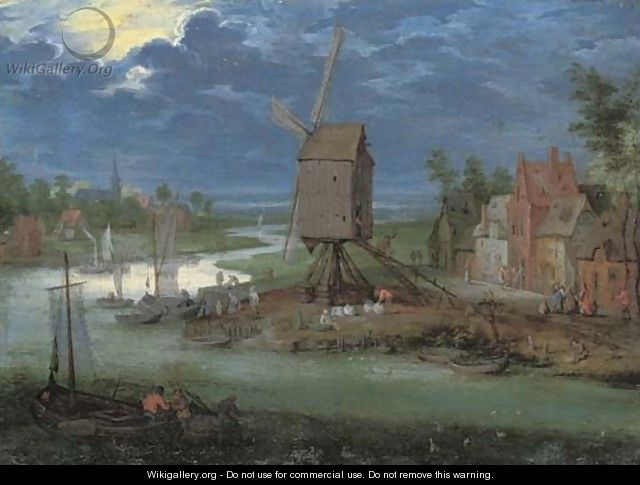 A river landscape with peasants by a landing-stage and a windmill - Pieter Gysels