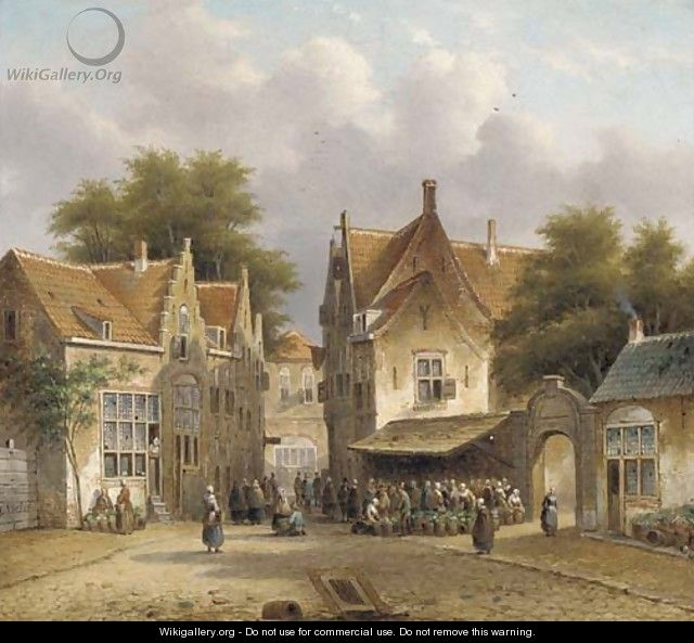 A flower market in a Dutch town - Pieter Gerard Vertin