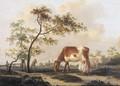 Cows on a farmyard with a village in the distance, in summer - Pieter Gerardus Van Os