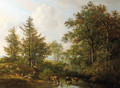 A shepherdess and cattle resting by a wooded pond - Pieter Gerardus Van Os