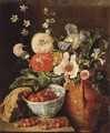 Wild strawberries in a blue and white porcelain bowl, carnations, irises, and other flowers in an earthenware jug on a stone ledge - Pieter Snyers