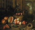 Plums on the branch, peaches, apricots, a melon, pomegranates, a nest with eggs and a goldfinch by classical buildings, a landscape beyond - Pieter Snyers